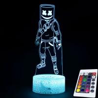 Lampe Fortnite 3D Marshmello télécommande