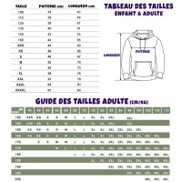 Guide/tableau tailles Sweat Fortnite