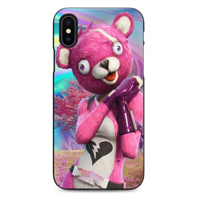 Coque iPhone Fortnite Ourse Rose Experte des Câlins